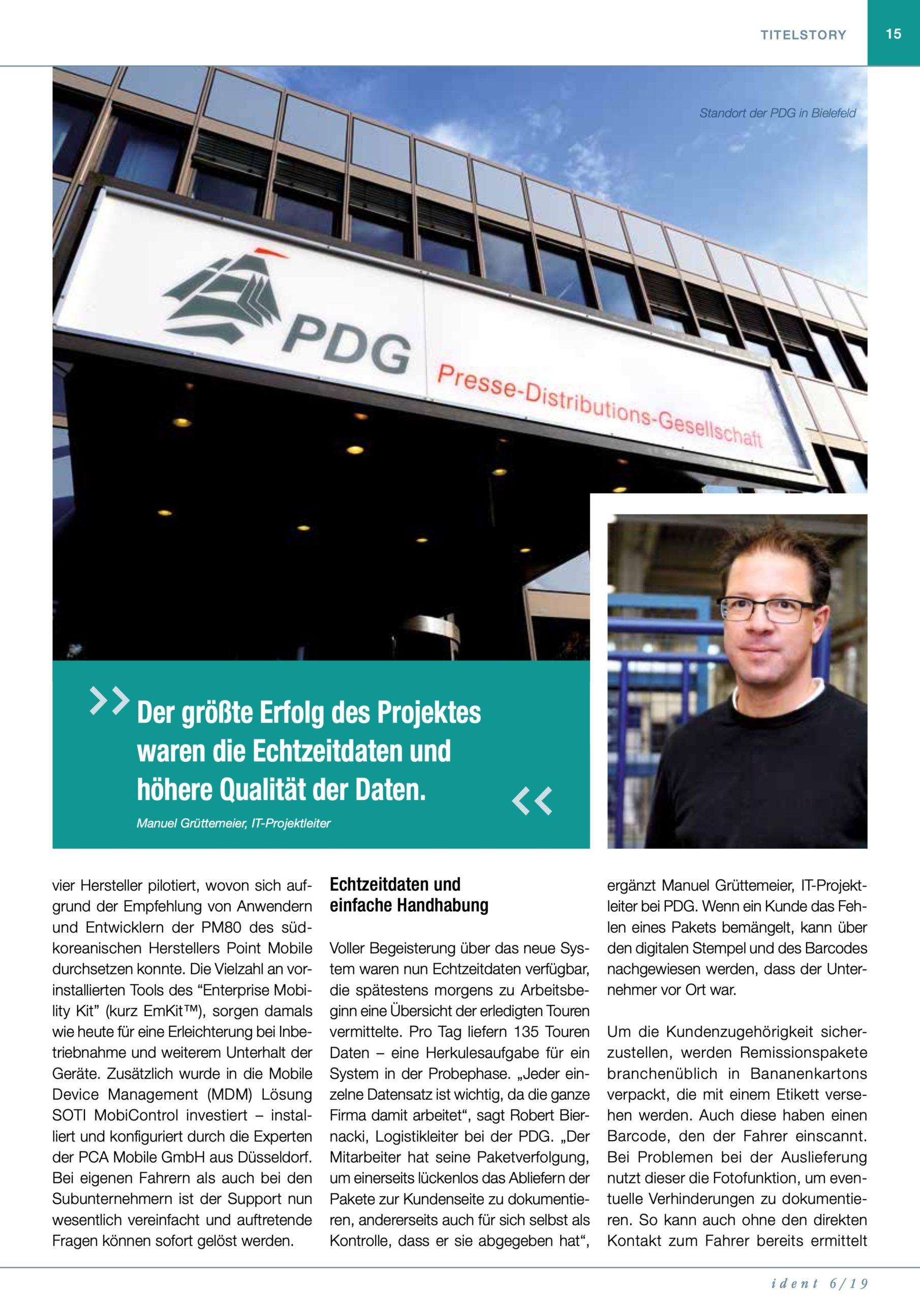 PM85 Referenz bei PDG